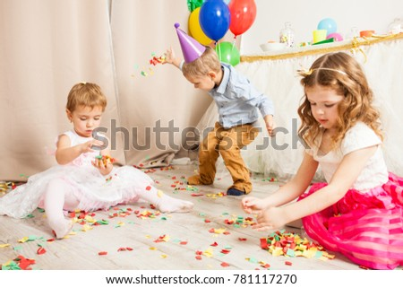 Celebrating birthday party with confetti #781117270