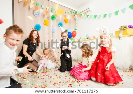 Celebrating birthday party with confetti #781117276
