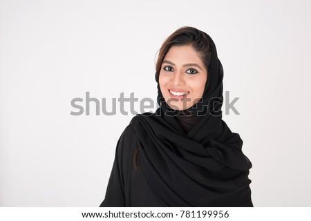 beautiful arab girl on white background Royalty-Free Stock Photo #781199956