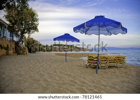 Late day on the beach in Karfas, Khios in Greece #78121465