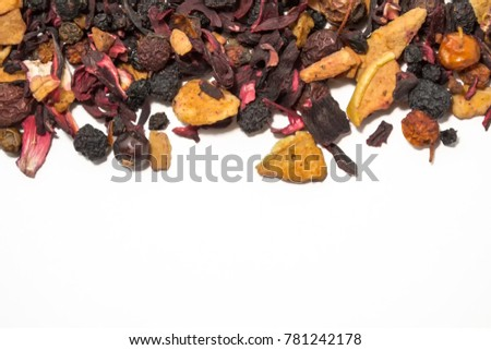 Dried berries and fruits. Fruit tea. Colorful pieces of fruit. Top view #781242178