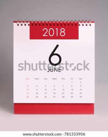 Simple desk calendar for June 2018 #781333906