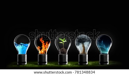 five elements of nature fire, earth, air, water,and sky Royalty-Free Stock Photo #781348834