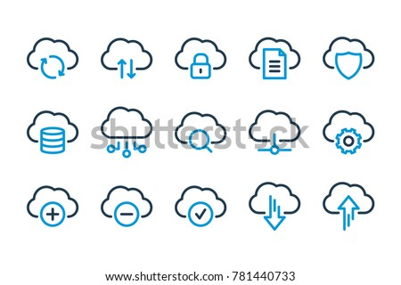 Computer cloud related line icons. Vector icon set.