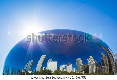 Reflection of a Chicago buildings  in a Chicago bean, Chicago city, USA
