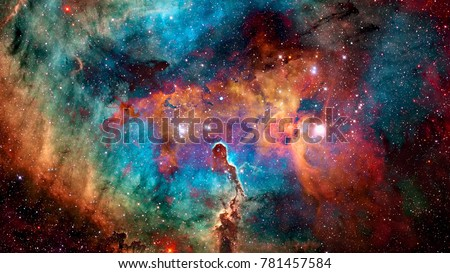 Colorful deep space. Universe concept background. Elements of this image furnished by NASA Royalty-Free Stock Photo #781457584