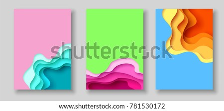 Cover or flyer template with 3d abstract paper cut blue green pink yellow background. Vector template in carving art style. Modern design. Eps10.