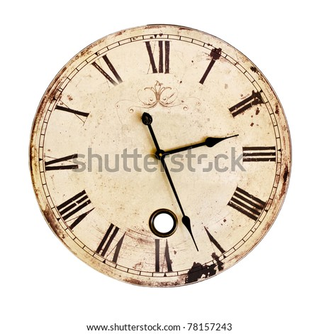 Old Clock Isolated on white . old vintage clock face #78157243