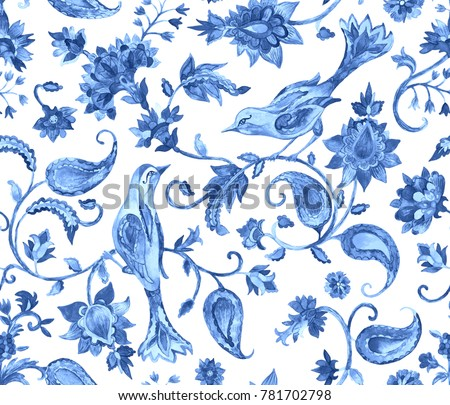 Paisley watercolor floral pattern tile with birds, flowers, flores, tulips, leaves. Oriental traditional hand painted water color whimsical seamless border for design. Abstract indian batik background