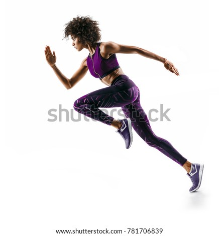 Young african girl running in silhouette on white background. Dynamic movement. Side view #781706839