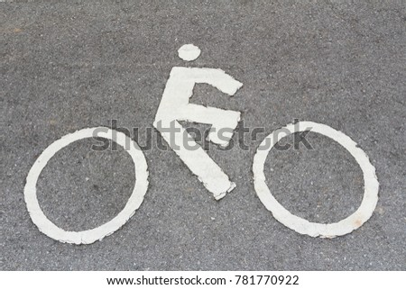 Close Up of Bicycle or Bike Sign on The Road #781770922