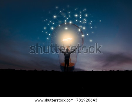 creative idea.Concept of idea and innovation / night sky background / soft focus picture / Blue tone concept #781920643