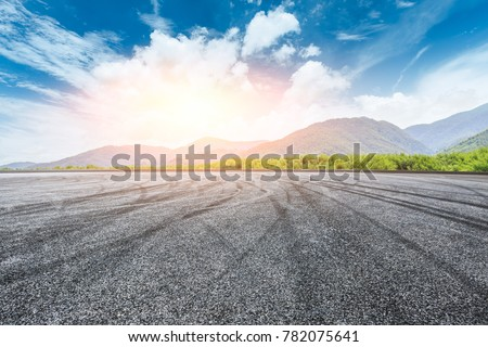 country square road and mountain nature landscape in summer #782075641