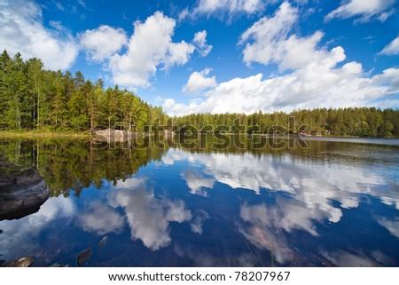 Finland lake. Wide angle view. #78207967