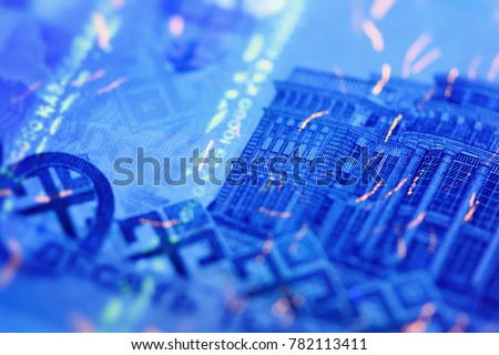Security features on banknote in UV light protection, abstract background of money