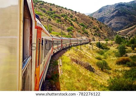 Detail of train wagons of the (Diesel Train) East express between Ankara and Kars, Turkey #782276122