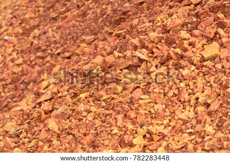 Bauxite mine, raw weathered bauxite sedimentary rock on surface #782283448