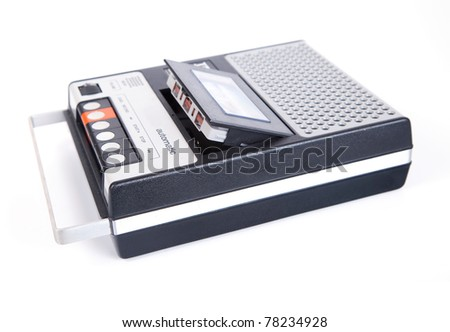 Retro Cassette Tape player and recorder isolated on a white background. #78234928