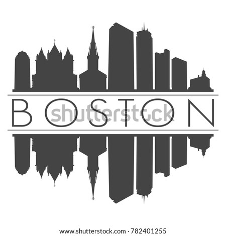 Boston Massachusetts USA Skyline Vector Art Mirror Silhouette Emblematic Buildings