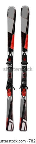 Pair of Black Skis - Isolated