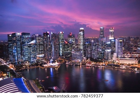 SINGAPORE - DEC 14 : Cityscape, View of the city from Marina Bay Sands on Dec 14,2017 at Marina Bay in Singapore #782459377