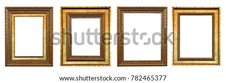 Close up old vintage picture frame isolated on white with space use for products or texts display #782465377