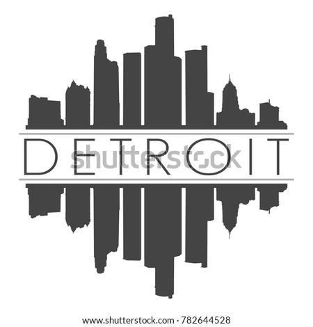 Detroit Michigan USA Skyline Vector Art Mirror Silhouette Emblematic Buildings