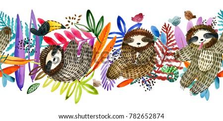 cartoon sloth seamless pattern. watercolor tropical plant illustration