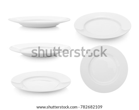 white plate on white background Royalty-Free Stock Photo #782682109