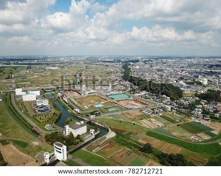 Over the Edogawa riverbed of Ichikawa-shi #782712721