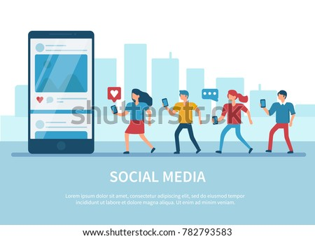 Social media concept banner with text place. Flat style minimal vector illustration isolated on white background. #782793583