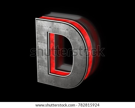 Futuristic letter D - black metallic extruded letter with red light outline glowing in the dark 3D render