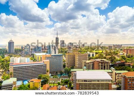 Nairobi city center - capital city of Kenya, East Africa Royalty-Free Stock Photo #782839543