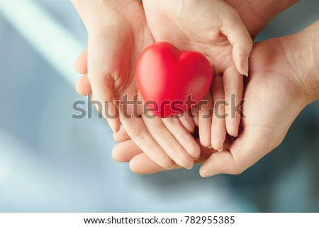 Adult and child hands holding red heart #782955385