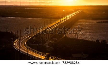 Khabarovsk bridge is a road Railway bridge, which crosses the Amur river at Khabarovsk, Eastern Russia #782988286