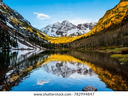 Maroon Bells peak at Maroon lake, Aspen, Colorado at sunrise #782994847