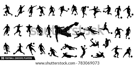 A set of vector set of football, soccer players Royalty-Free Stock Photo #783069073