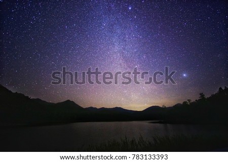 Night sky with Milky Way over the lake