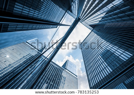 low angle view of skyscrapers in city of China Royalty-Free Stock Photo #783135253