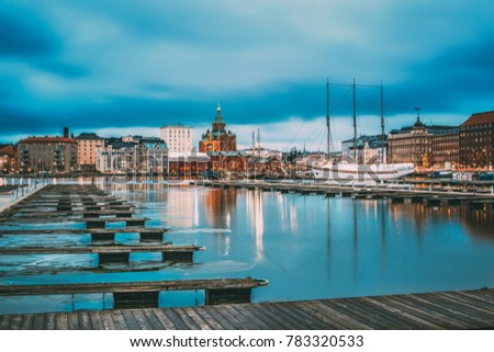 Helsinki, Finland. View Of Evening City And Uspenski Cathedral From Pier. #783320533