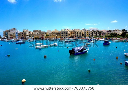 Colorful harbor in Malta #783375958
