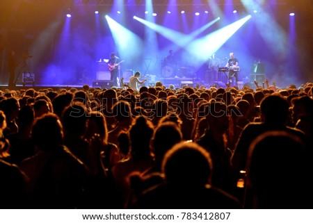 BARCELONA - JUL 2: The crowd in a concert at Vida Festival on July 2, 2016 in Barcelona, Spain. #783412807