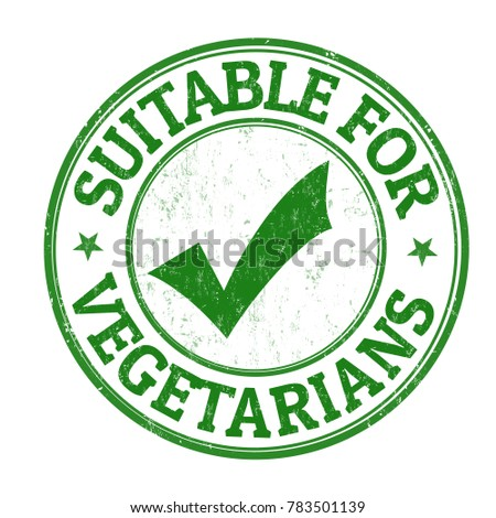 Suitable for vegetarians grunge rubber stamp on white background, vector illustration
