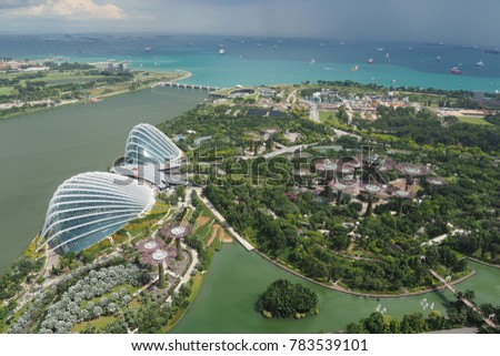 Singapore - Dec 28 2017: Aerial View of Gardens by the Bay #783539101