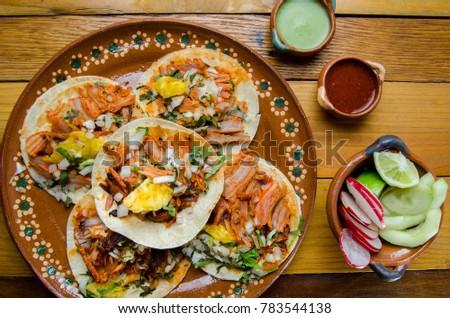 Original mexican tacos al pastor #783544138