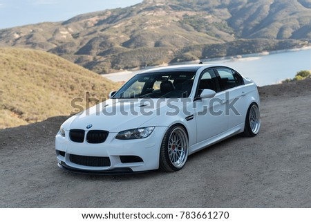 LA, California; December 29, 2017. White BMW M3 (E90) on the front of mountain. Editorial photo.  #783661270