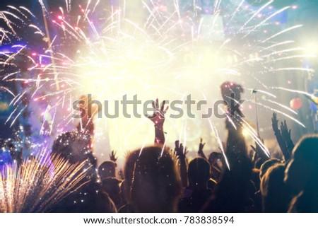 New Year blurred crowd background #783838594
