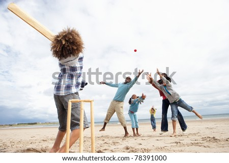 Family playing cricket on beach #78391000