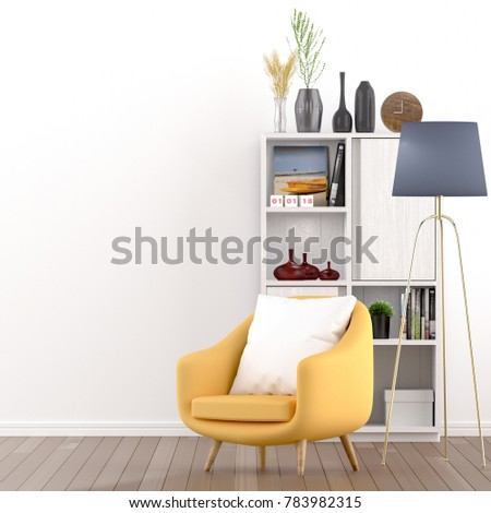 Yellow chairs and home interiors in the living room. - 3D rendering #783982315