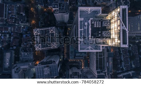 aerial view of business area in Nangjing Rd, Shanghai, China, at night #784058272